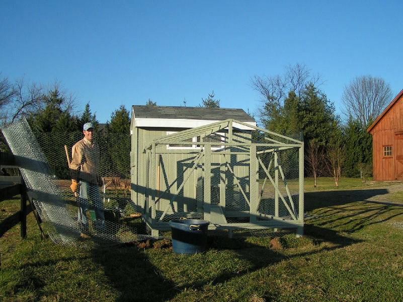 Applying Chicken Wire to the Bird Run Frame